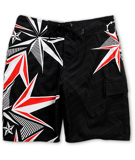 Empyre Nautical Black 4-Way Stretch Board Shorts