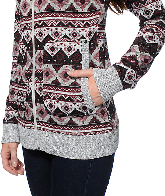 Empyre Naya Blackberry Tribal Sweater Tech Fleece Jacket