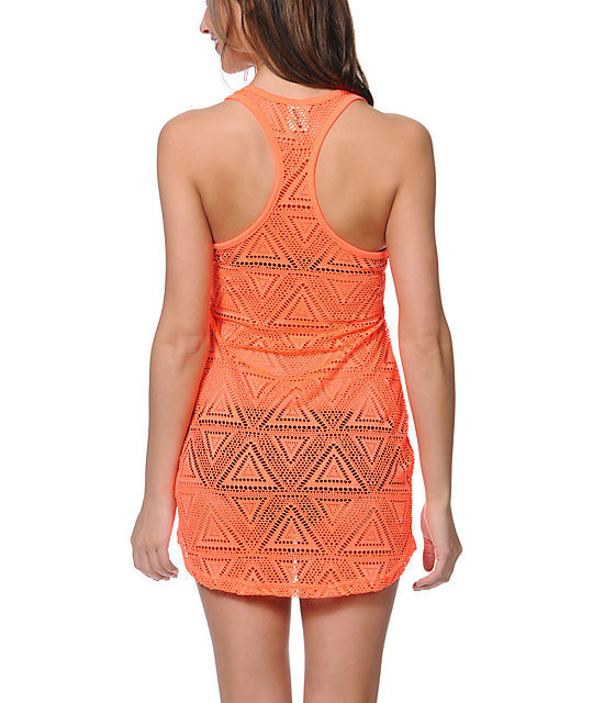 Empyre Neon Coral Crochet Tank Dress