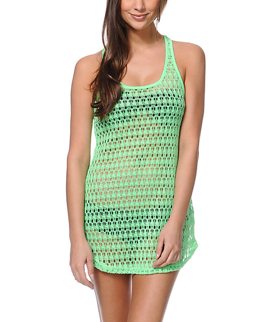 Empyre Neon Green Crochet Tank Dress