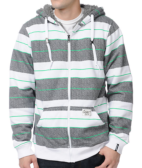 Empyre Nero White & Grey Striped Sherpa Fleece Hoodie