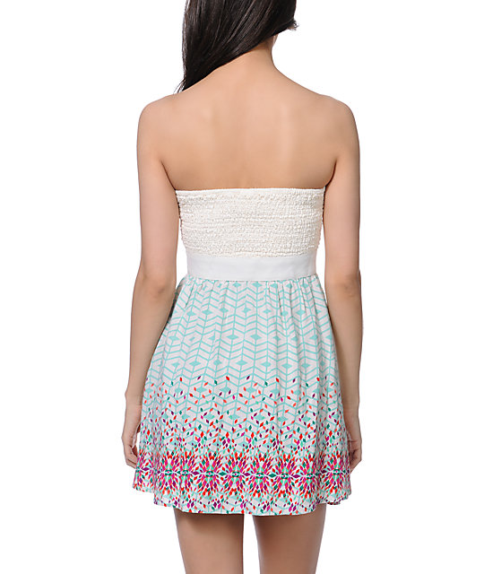 Empyre Nia Border Print Strapless Dress