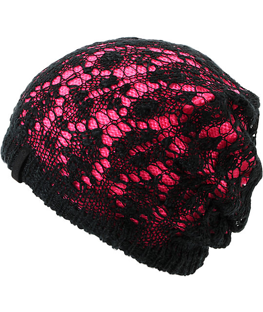 Empyre Noble Crochet Black & Pink Beanie
