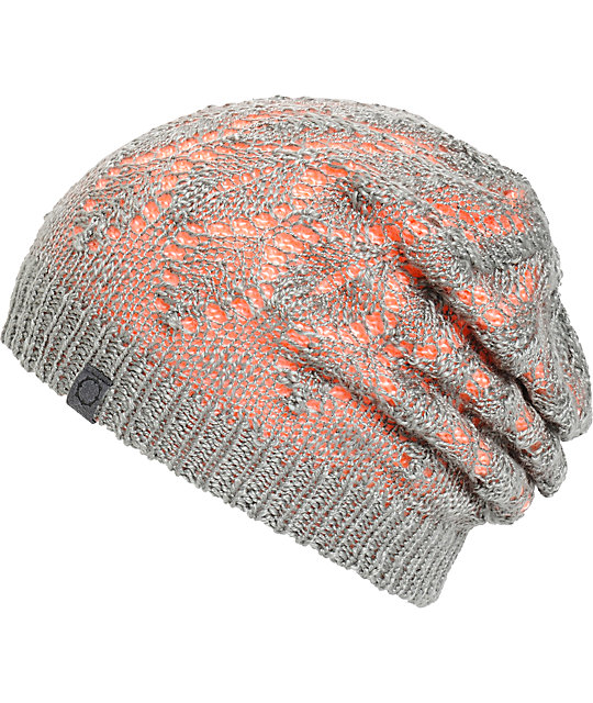 Empyre Noble Grey & Coral Reversible Beanie