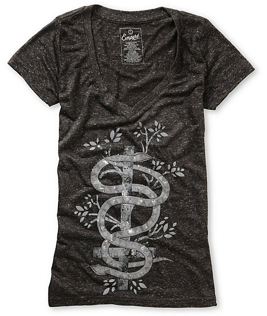 Empyre Ophidia Heather Black V-Neck T-Shirt