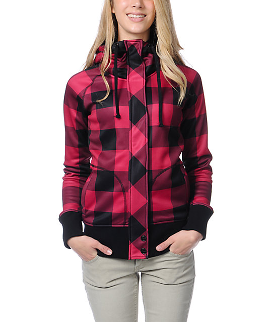 321c1a3d Empyre Oracle Red & Black Buffalo Plaid Tech Fleece Jacket   Zumiez