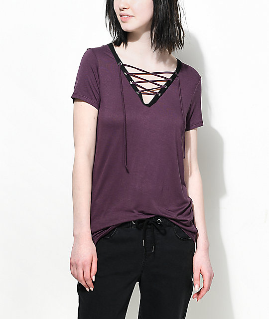 Empyre Page Contrast Burgundy Lace Up Top