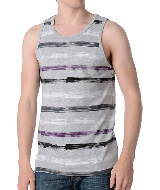 Empyre Painted Grey Stripe Tank Top
