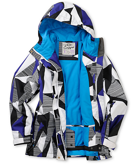 Empyre Palisade 10K White & Purple Geo Snow Jacket