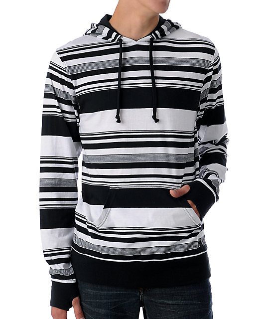 Empyre Parted White & Black Knit Hoodie