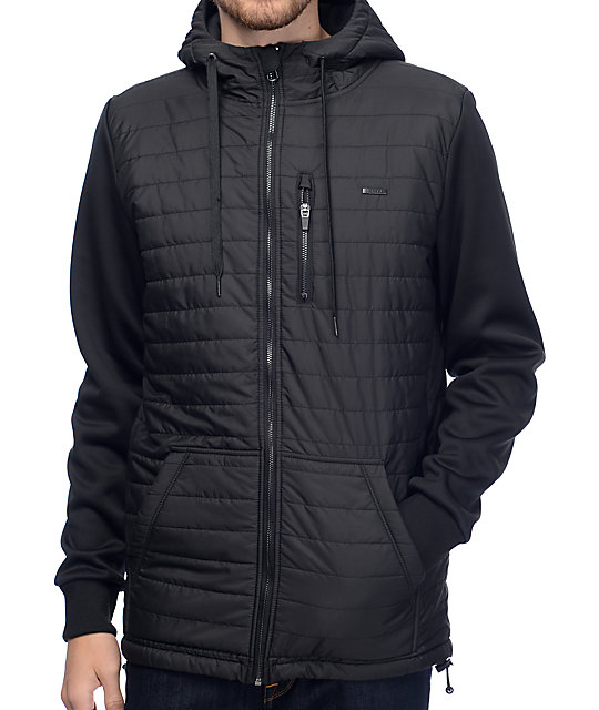 Empyre Peak Quilted Full Zip Black Tech Fleece Jacket ...