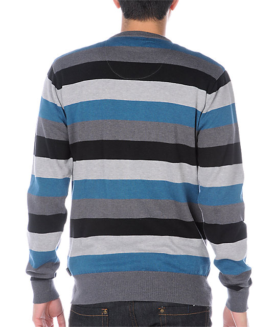 Empyre Phantom Grey & Blue Striped Crew Neck Sweater