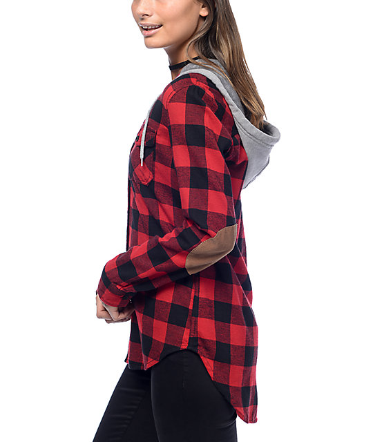 Empyre Pheobe Red & Black Hooded Flannel Shirt