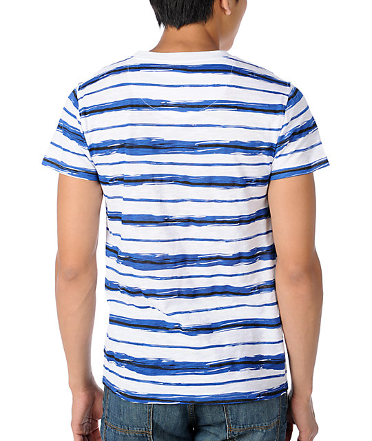 Empyre Picasso White & Blue Stripe T-Shirt
