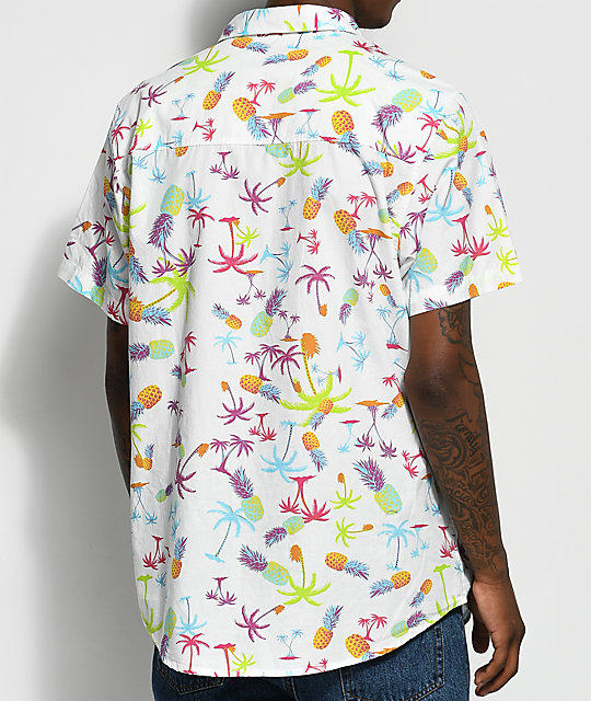 Empyre Piney White & Purple Tropical Print Short Sleeve Button Up Shirt