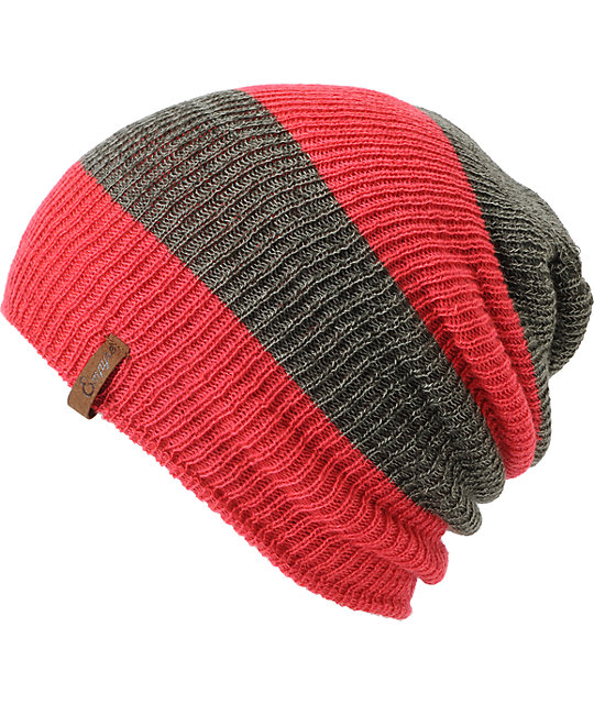 Empyre Piper Pink & Charcoal Rugby Stripe Beanie