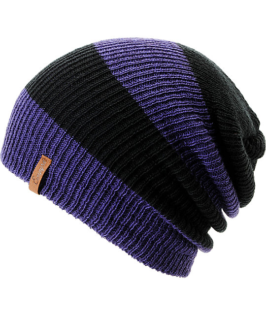3ab122b9378 Empyre Piper Purple   Black Rugby Striped Beanie