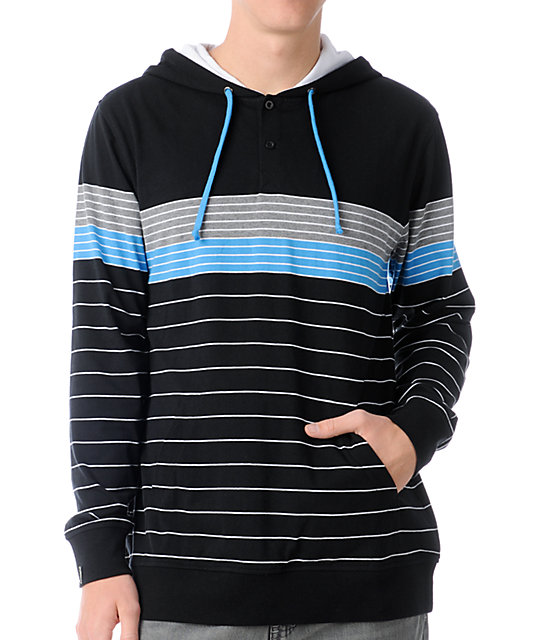 Empyre Pong Black & Blue Stripe Knit Henley Hoodie