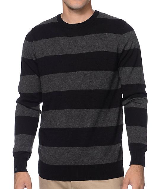 Empyre Pop Collar Grey Black Striped Sweater Zumiez