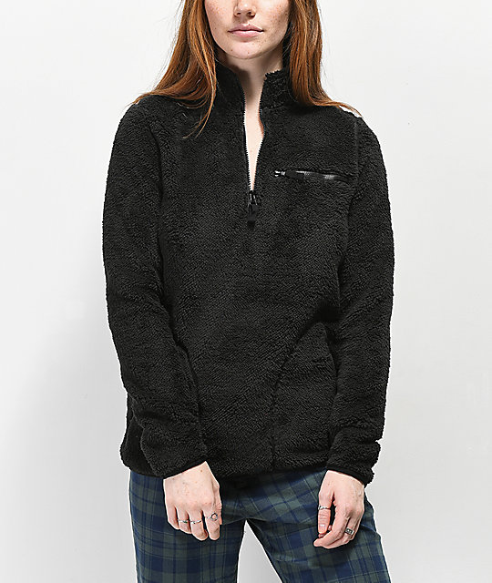 Empyre Posie Black Sherpa Quarter Zip Jacket