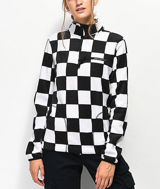 Empyre Posie Checkered Quarter Zip Fleece Jacket