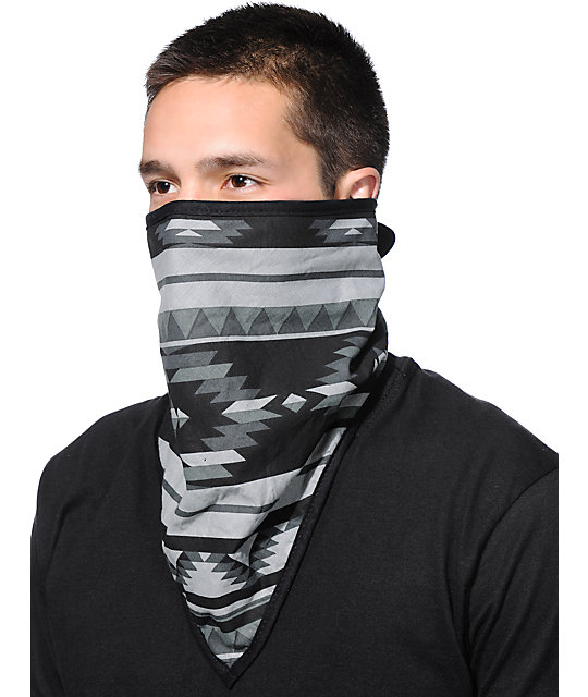 Empyre Premium Grey & Black Tribal Print Face Mask Bandana