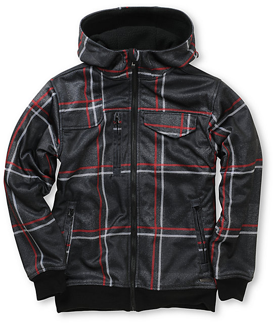 Empyre Proverb Black & Red Plaid Boys Tech Fleece Zip Up Hoodie