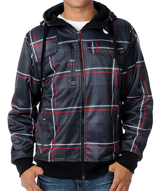 Empyre Proverb Black & Red Plaid Mens Tech Fleece Jacket