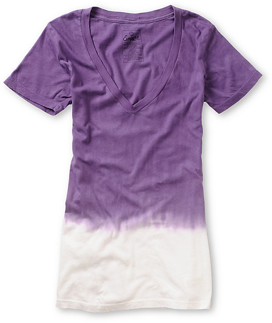 Empyre Purple Ombre Dip Dye V-Neck T-Shirt