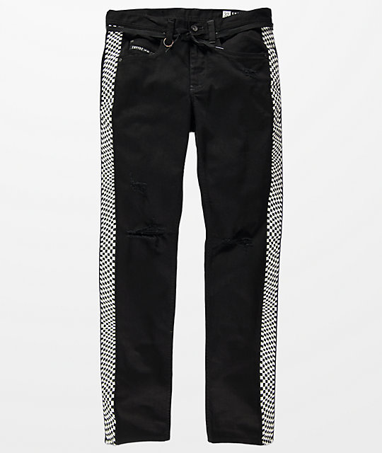 2afe1a5fac44 Shoptagr | Empyre Recoil Checkered Tape Black Jeans by Empyre