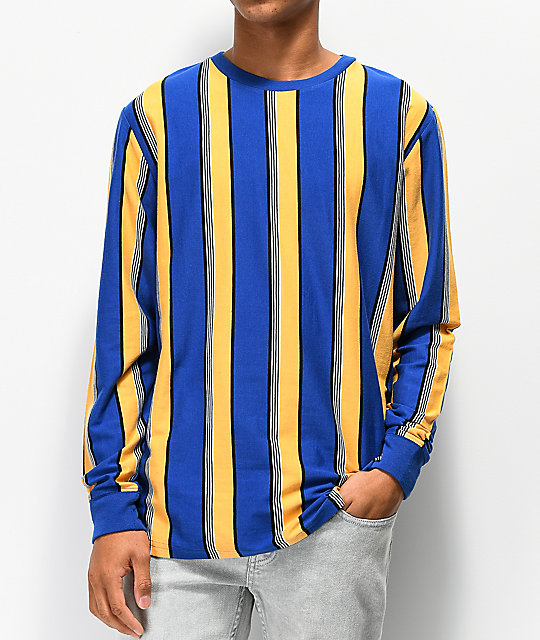 Empyre Recon Blue & Yellow Vertical Striped Long Sleeve T-Shirt