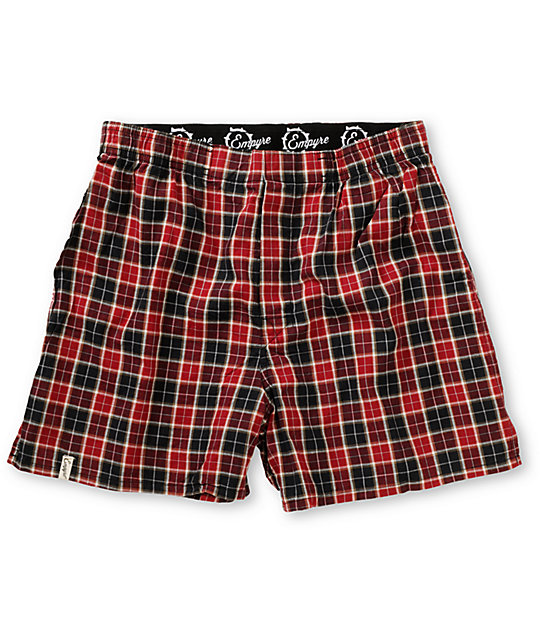 Empyre Red & Black Plaid Checky Boxers