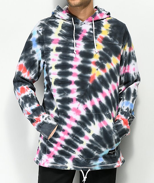 Empyre Reef Black, Pink, Blue & Yellow Tie Dye Hoodie