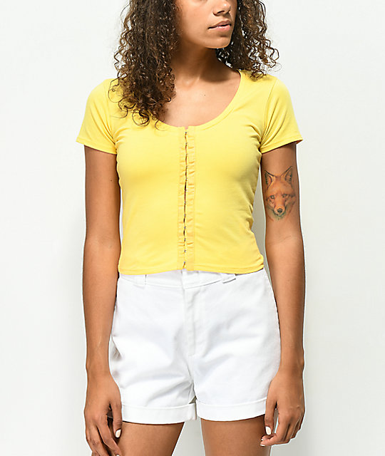 Empyre Reeves Hook & Eye Yellow Crop Top