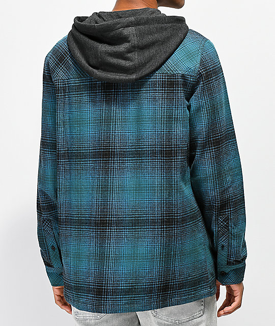 Empyre Retreat Blue & Black Hooded Flannel Shirt