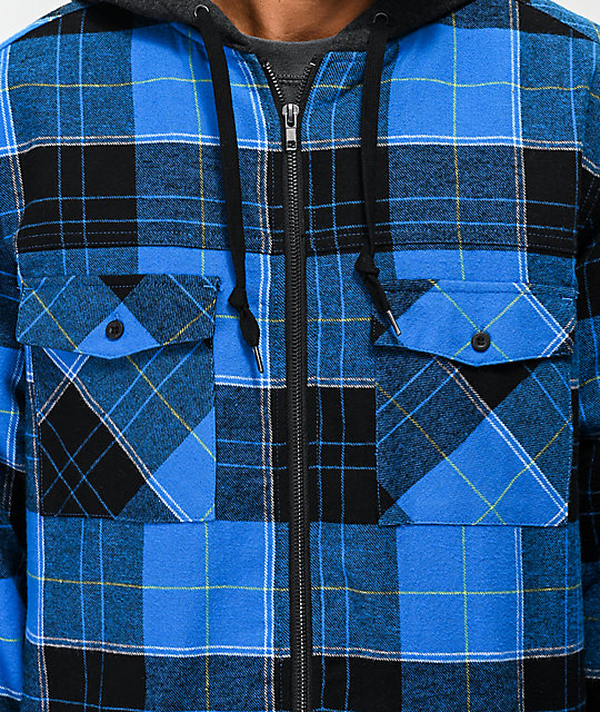 Empyre Retreat Blue Hooded Flannel Shirt