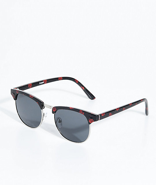 Empyre Retro Roses Black Sunglasses