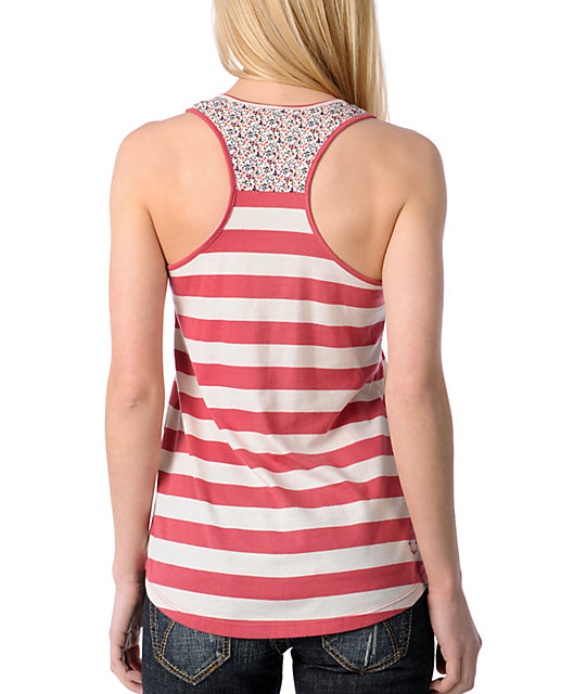 Empyre Rigour Red Stripe Floral Tank Top