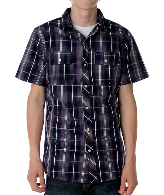 Empyre Rogue Grey & Purple Woven Shirt