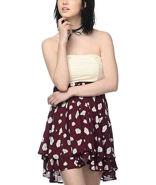 Empyre Ronia Burgundy Floral Tie Tube Dress