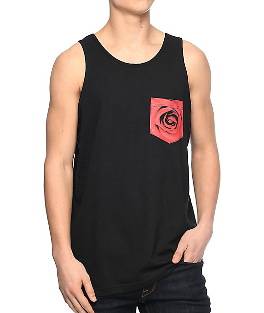 Empyre Rose Black Pocket Tank Top