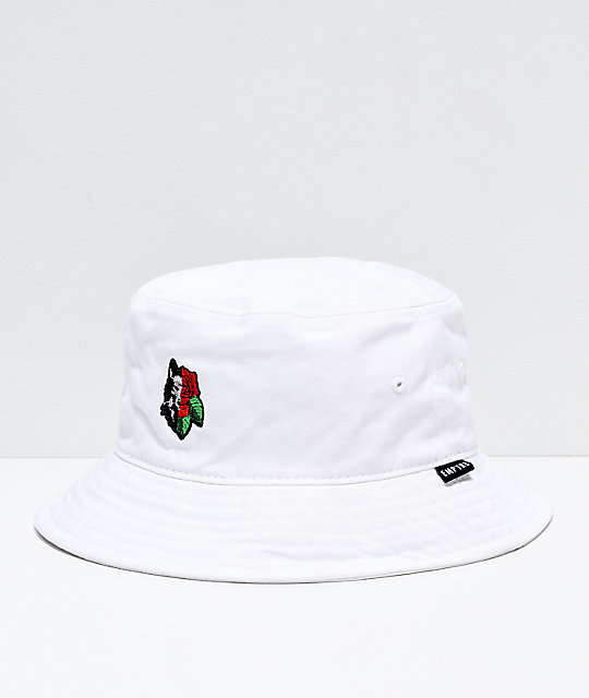 Empyre Rose Wolf White Bucket Hat