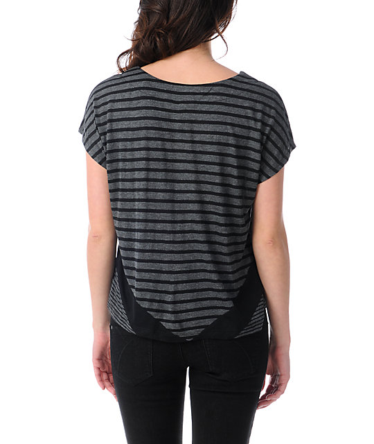 Empyre Roslyn Black & Charcoal Stripe T-Shirt