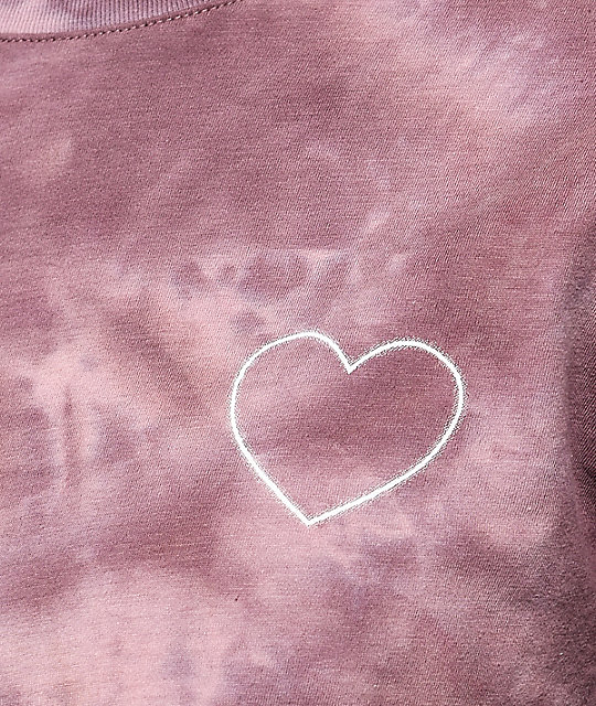 Empyre Rubino Rose Heart Mauve Tie Dye Long Sleeve T-Shirt
