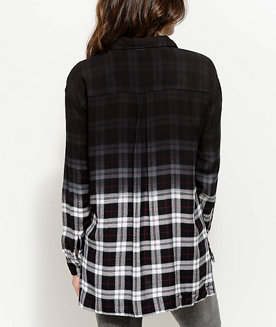 Empyre Sahale Dip Dye Plaid Button Up Shirt