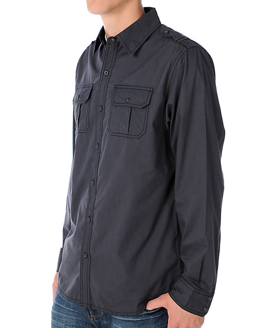 Empyre Saints Black Pin Stripe Long Sleeve Woven Shirt