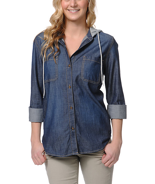 Empyre Salinas Slub Hooded Denim Shirt