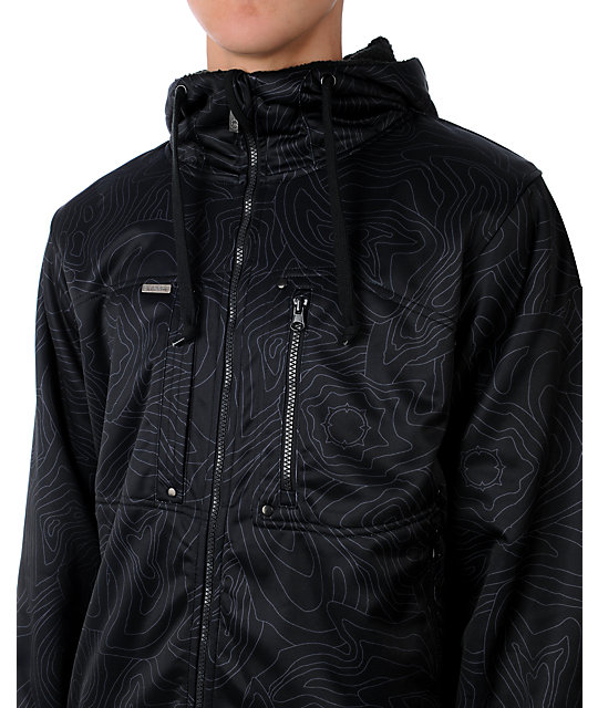 Empyre Schematic Black Topo Tech Fleece Jacket