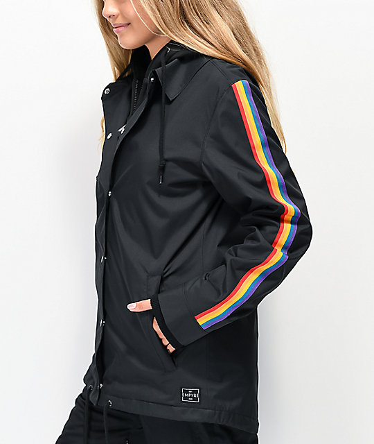Empyre School Yard Black & Rainbow Stripe 10K Snowboard Jacket