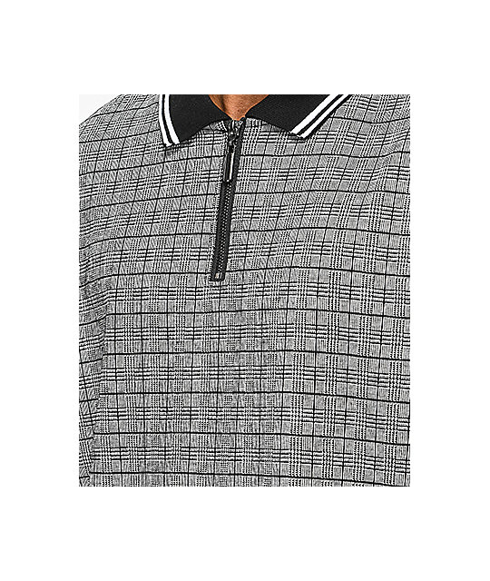 Empyre Scotch Plaid Zip Up Long Sleeve Polo Shirt